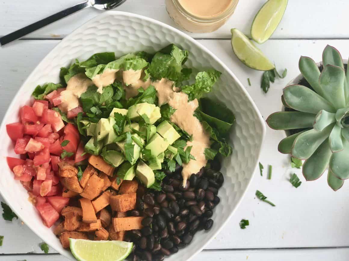yam black bean vegan taco bowl